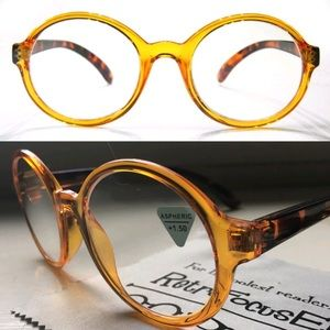 0cb6f2ddb92 generic Accessories - 2pr +1.50 Reading Glasses Round Large Orange NEW