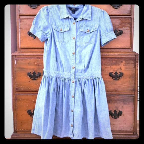 4c826c8ada POLO Ralph Lauren chambray shirt dress girls. M 57ac9c576802787a8701d542