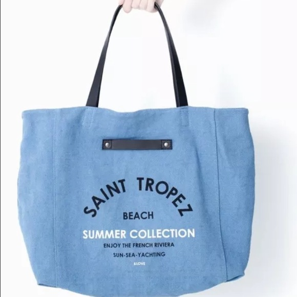 38% off Zara Handbags - BNWT ZARA SAINT-TROPEZ Shopper Beach Bag ...
