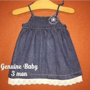 Genuine Baby Jean Dress Lace Ruffle 3 Months