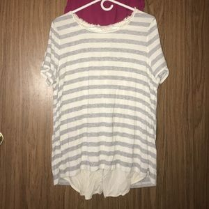 White and gray striped loose blouse