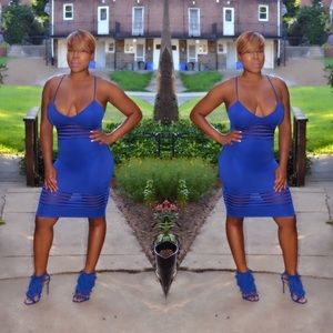 Dresses - Sexy Royal Blue sheer panel midi dress