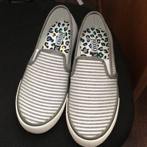 XOXO Shoes - Cute striped canvas loafers 6 ..gray shoes New
