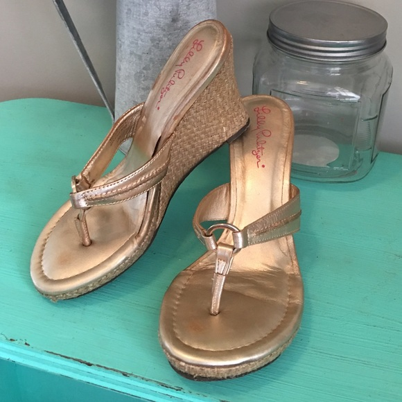 cd5c9329a54a60 Lilly Pulitzer Shoes - Lilly Pulitzer McKim Wedge Sandal in Gold