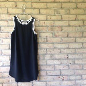 Black Dress w/ striped ribbed trim