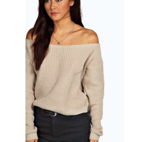 7399b31e57784 Boohoo Sweaters | Knit Off The Shoulder Cropped Sweater Nwt | Poshmark