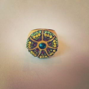 Jewelry - Rhinestone and Enamel Cocktail Ring