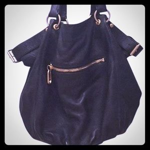 Linea Pelle black leather hobo bag