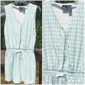 Vintage romper 90s mint green and white M