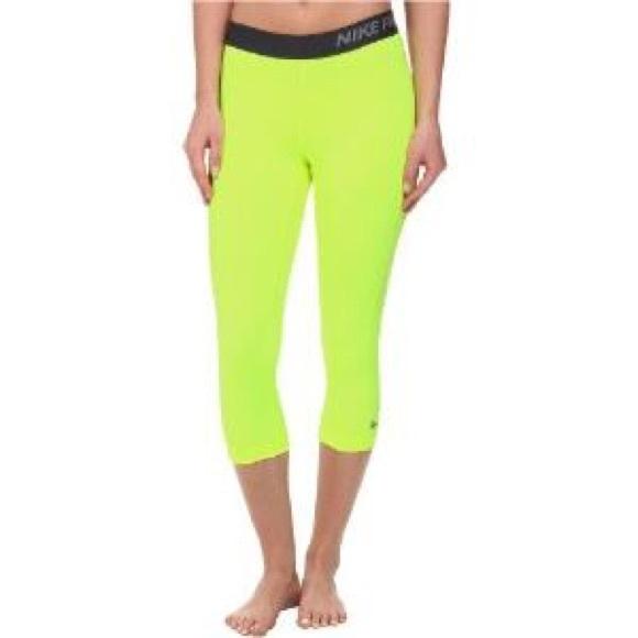 2c07a701320f2 Nike Pants | Pro Capri Volt Bright Light Leggings Tights | Poshmark