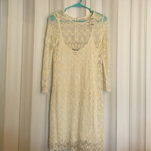 MNG Lace 3/4 sleeve dress size 6 with slip W/tag