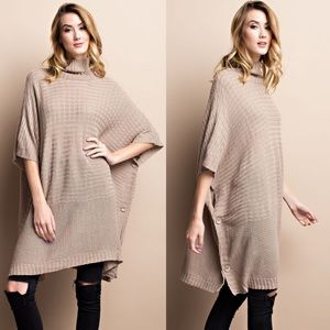 DANNY poncho style sweater - TAUPE