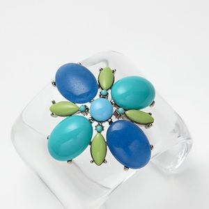 Ben-Amun Jewelry - Ben-Amun clear resin with blue/green glass beads