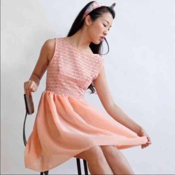 2326a9ccaea9c American Apparel Dresses   Skirts - Blush pink lace chiffon dress