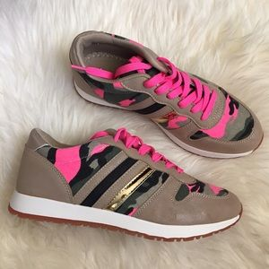 Charlotte Russe Shoes - Tan Colorblock Camo & Pink Sneakers