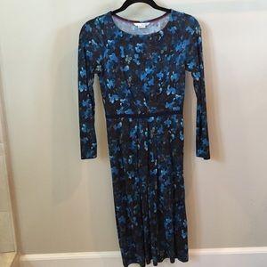 Gorgeous Boden dress, tea length floral navy print