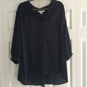 Sejour Tops - Black and navy leopard print blouse