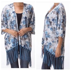 Moon Collection Sweaters - Print Cardigan w/ Fringe