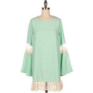 Fashionomics Dresses & Skirts - Mint Green Dress w/ Lace