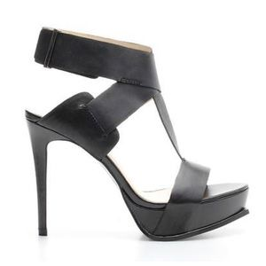 Zara Black Leather T-Strap Platform Sandal Heels