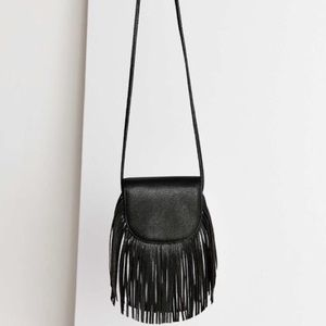 Grey Ecote Fringe Saddle Bag