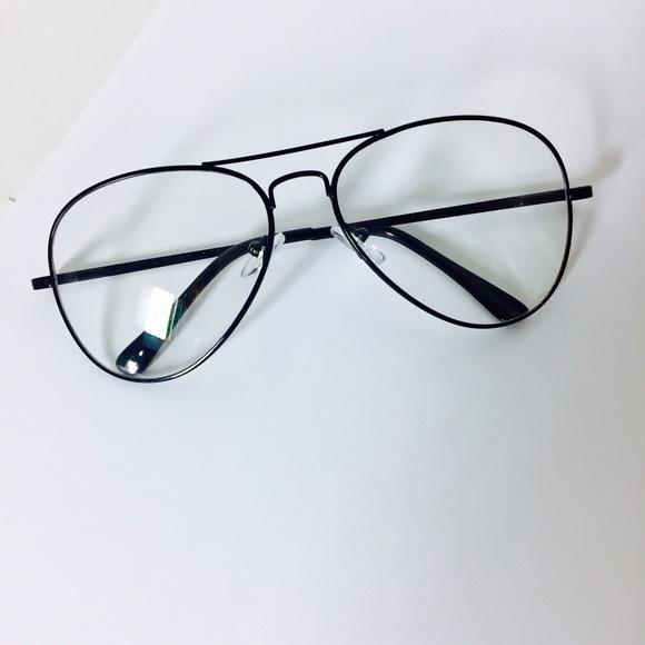 2a009c0e9c8 Vintage Black Clear Lens Aviator Glasses