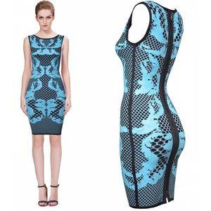 Black bandage dress with teal geometric print