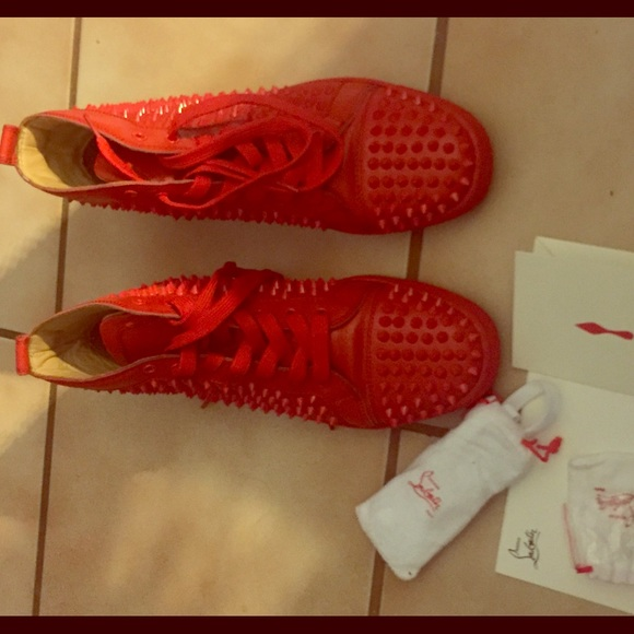 newest 96086 d903e Christian Louboutin red, spike sneaker