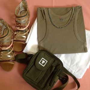 TANK TOP ALL COTTON HAND BEADED ARMY GREEN