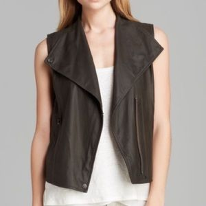 Vince Leather Vest in Military Green