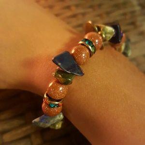 Jewelry - Handmade bracelet with gold stone lapis amethyst g