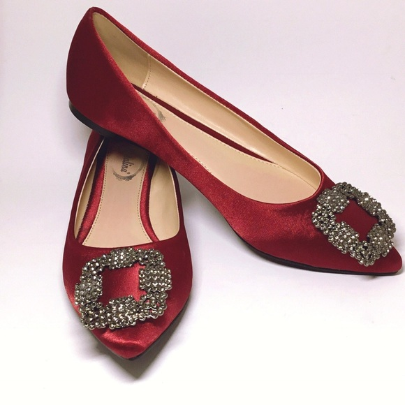 burgundy flat shoes Italina by Summer Rio Shoes | Burgundy Embellished Satin Ballerina ...
