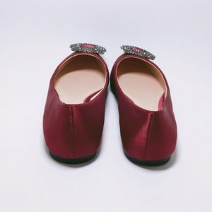 87c35d6edb8 Italina by Summer Rio Shoes - Burgundy Embellished Satin Ballerina Flats