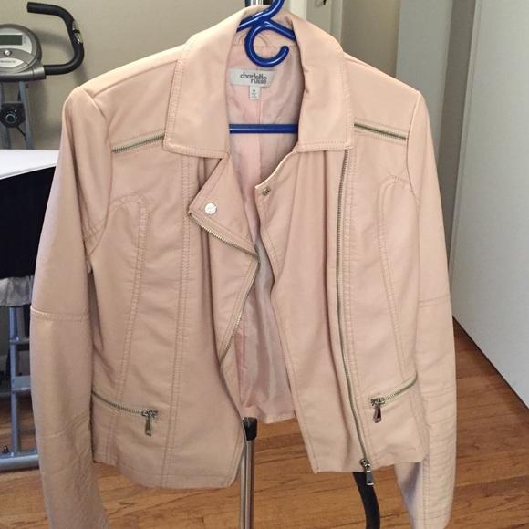 fdadc5515e1 Charlotte Russe Jackets   Blazers - Pale Pink Faux Leather Moto Jacket