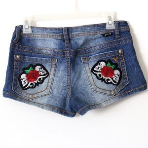 Grange Pants - Skull patch denim shorts