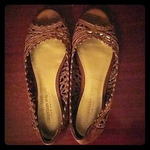 Christian Siriano Shoes - Christian Siriano Brown Woven Flats