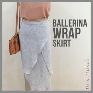 [ angl ] layered asymmetric grey chiffon skirt