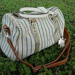 Just Fabulous Colorful Woven Satchel Handbag