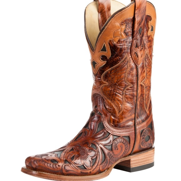 5affdb07d2a Chedron Black Handtooled Cowgirl Boots
