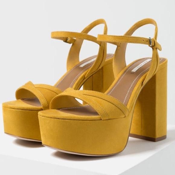 6067ea78a7 Zara Shoes | Yellow Platform Sandals | Poshmark