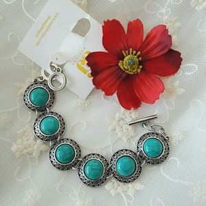 T&J Designs Jewelry - Boho turquoise and silver bracelet