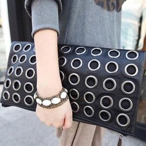 "Trendy ""Nicole"" Hollow Rivet Clutch Bag"