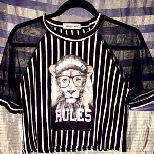 rad BROOKLYN RULES lion crop top! Stripes & sheer