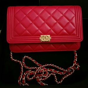 Chanel Bags - Brand new red lambskin Chanel boy wallet on chain ab7fd07d412c6