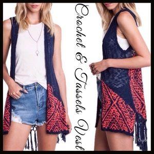 Boutique Other - Crochet Back Knit Vest