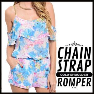 Boutique Pants - Chain Strap Floral Romper