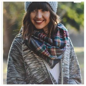 Navy flannel fringe infinity scarf