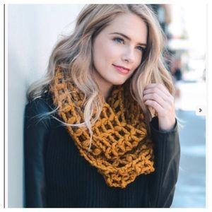 Accessories - Mustard net knit infinity scarf