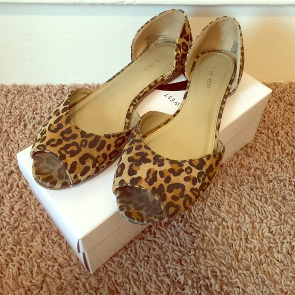 Nine West Leopard Print Peep Toe Flats