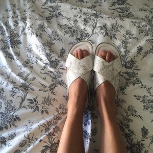 Topshop Shoes - WHITE SNAKE PRINT SLIDES